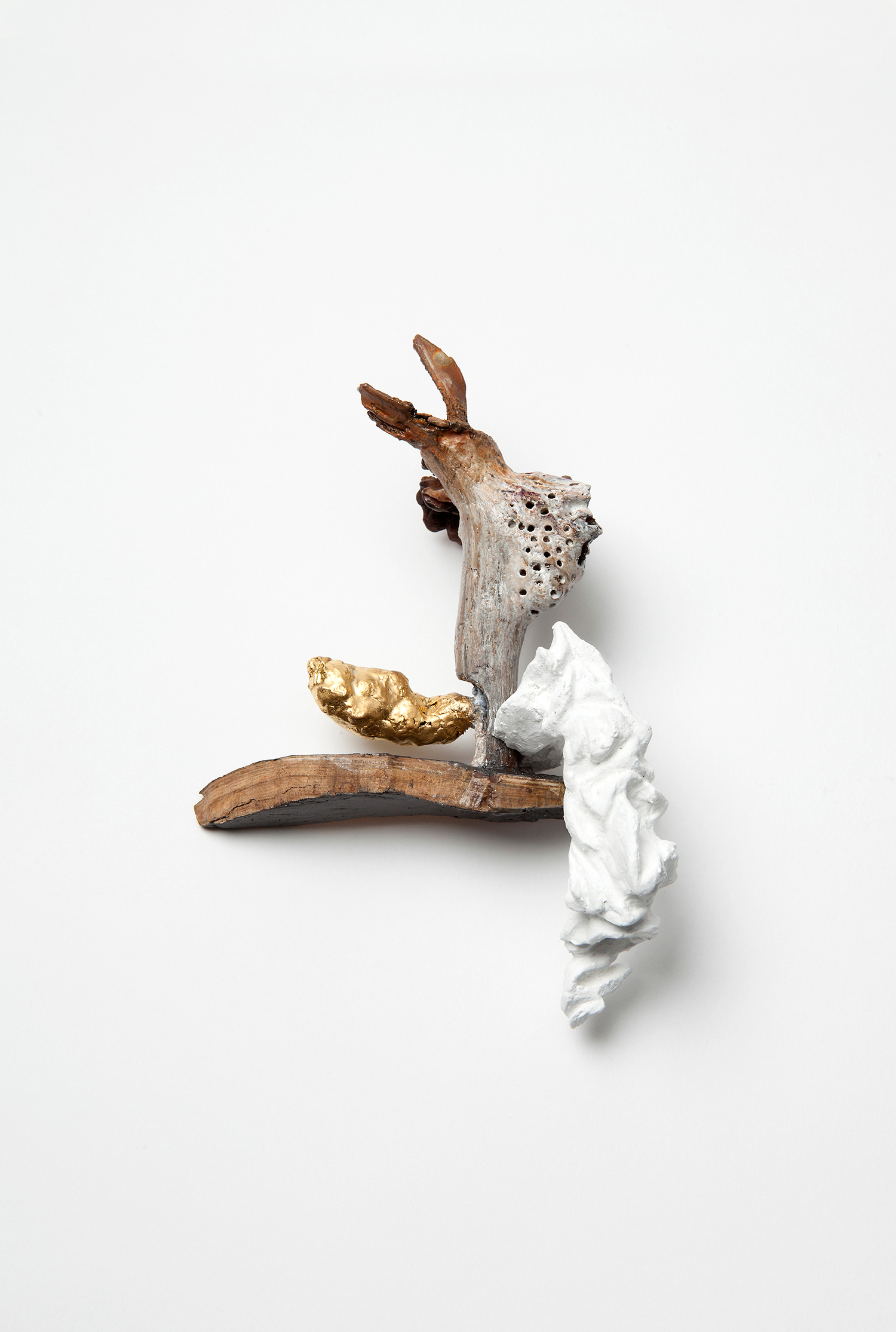 Untitled (Pieta) |  Brooch |  2015 |  Wood, color, graphite, silver, plastic, gold, gold leafs, stainless steel, copper  | 165X110X50 mm