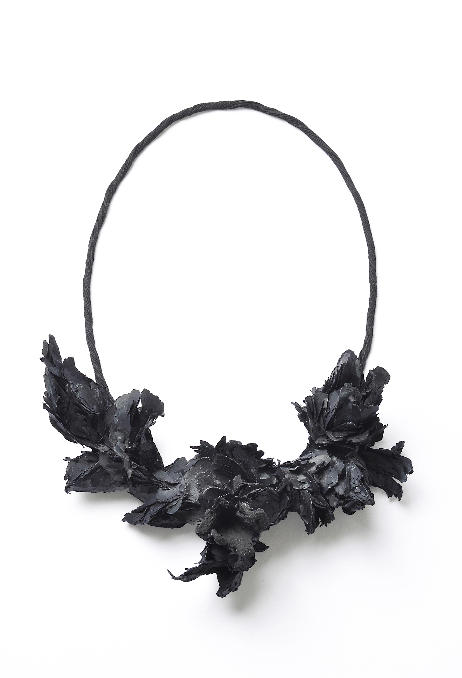 Untitled | Necklace    |   2010    |    Treated cellulose, paint, coal, glue, linen |      205X150X73 mm |     Photographer: Mirei Takeuchi