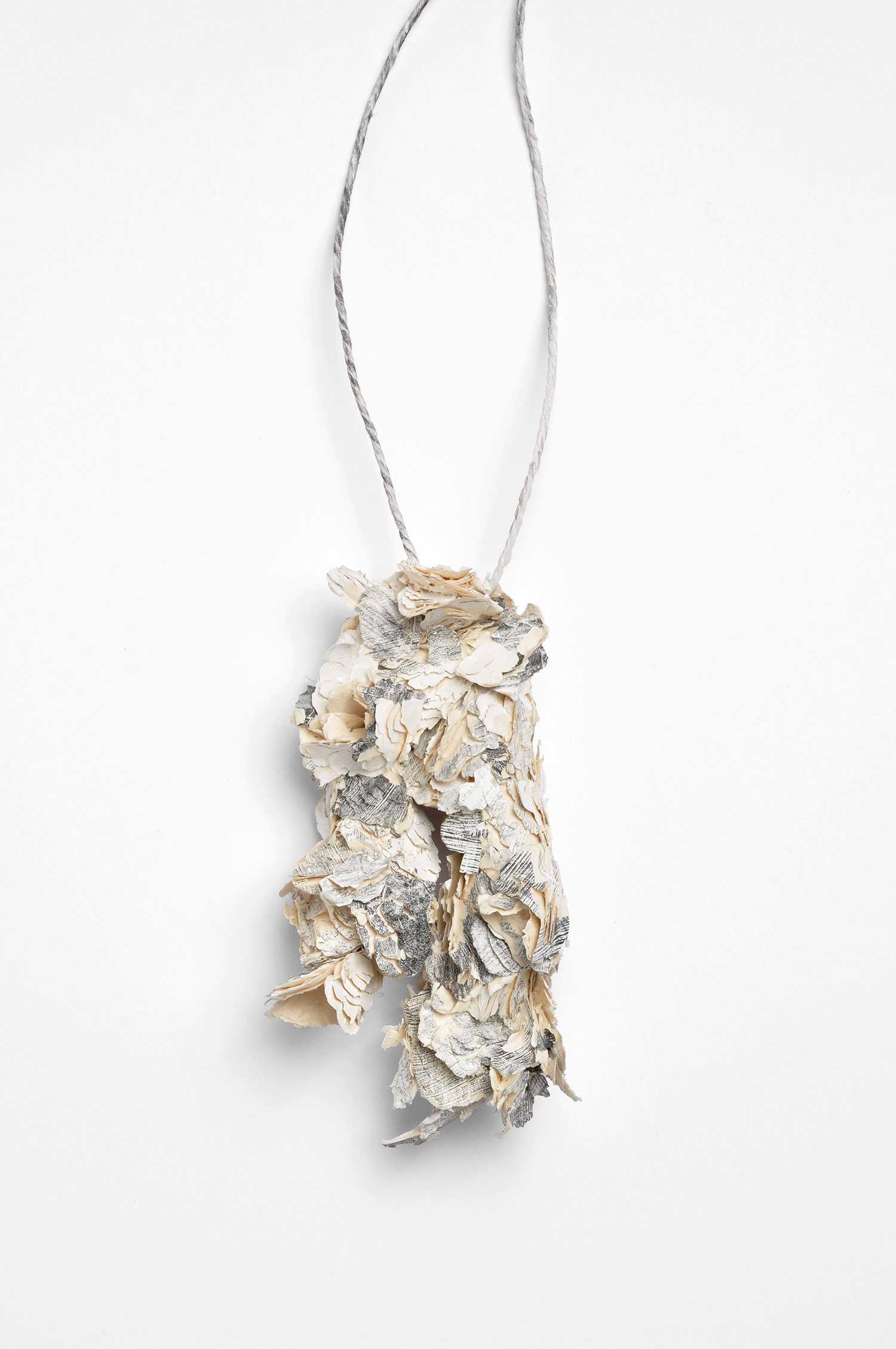 Untitled | Necklace     |   2010        | Treated cellulose, graphite, paint, glue, silver         |   175X90X73 mm  |  Photographer: Mirei Takeuchi