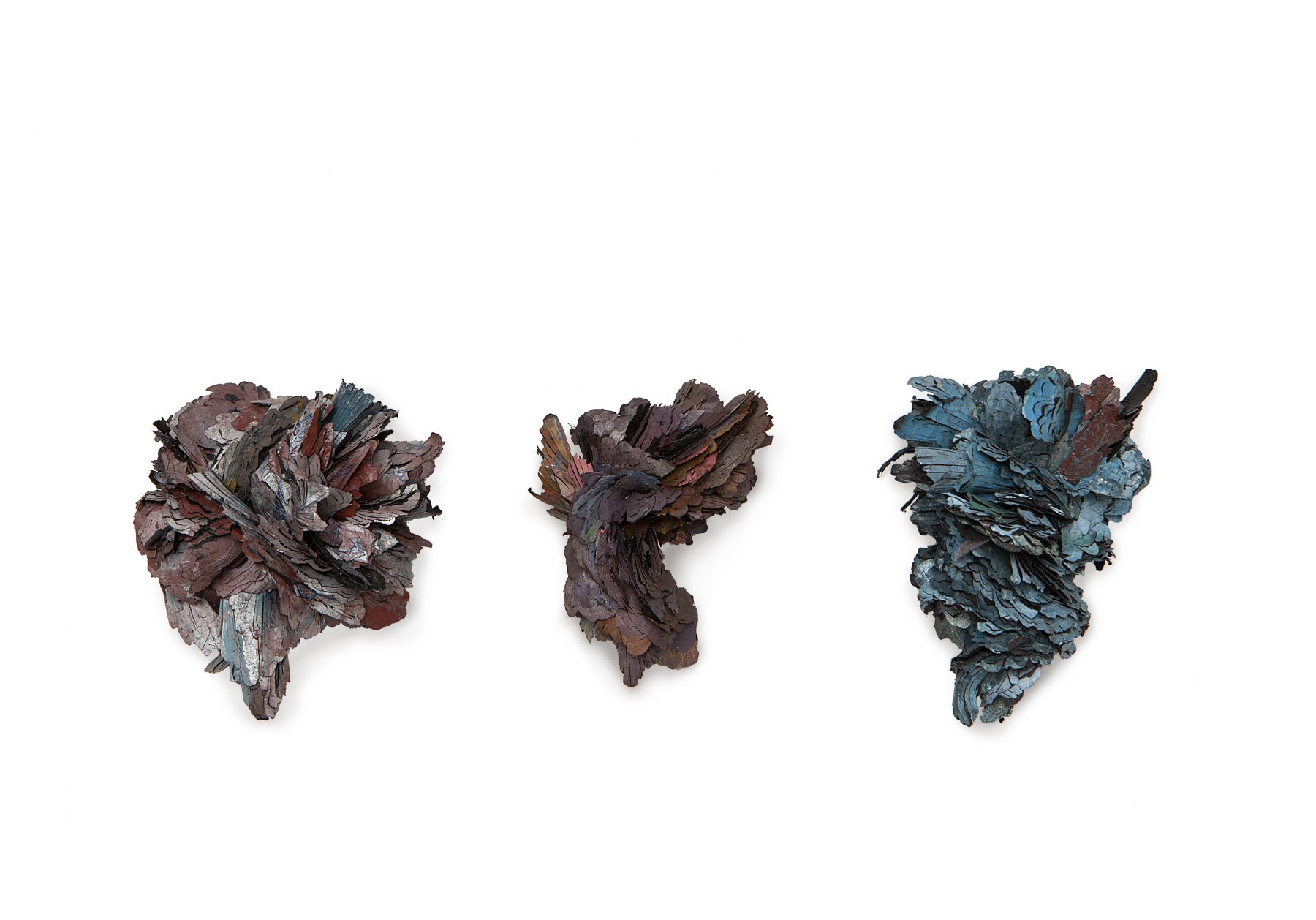 The Free Radicals (part 4,7,3)  | 3 Brooches    |   2013, 2011     |   Treated cellulose, paint, coal, glue, silver, brass, stainless steel       |  105X50X55 mm