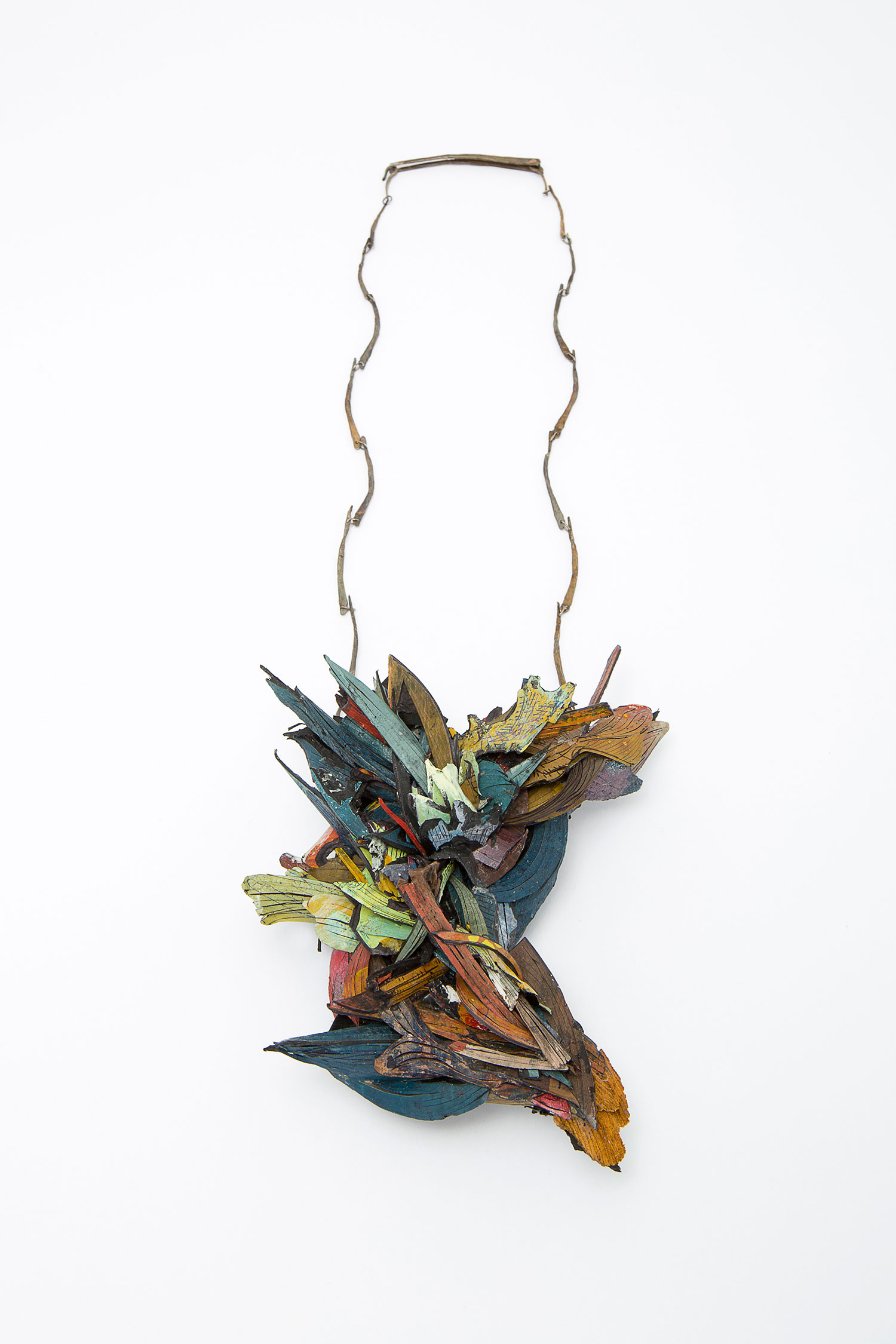 Untitled   |  Necklace    |  2015   |   Treated cellulose, paint, wood, glue, silver, Shibuishi   |   350X160X65 mm