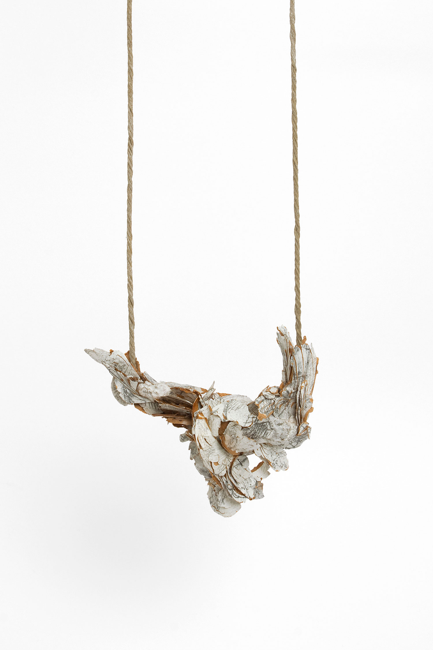 untitled |    Neckpiece  |   2013  |   Treated cellulose, news paper, graphite, paint, glue, silver, cotton string  |   95X100X45 mm