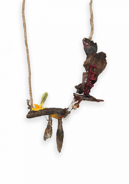 """piglet's tale""    |   Necklace  |    2013  |    Wood, color, paper, silver, enamel, plastic, iron, brass, linen |    340X220X80 mm"