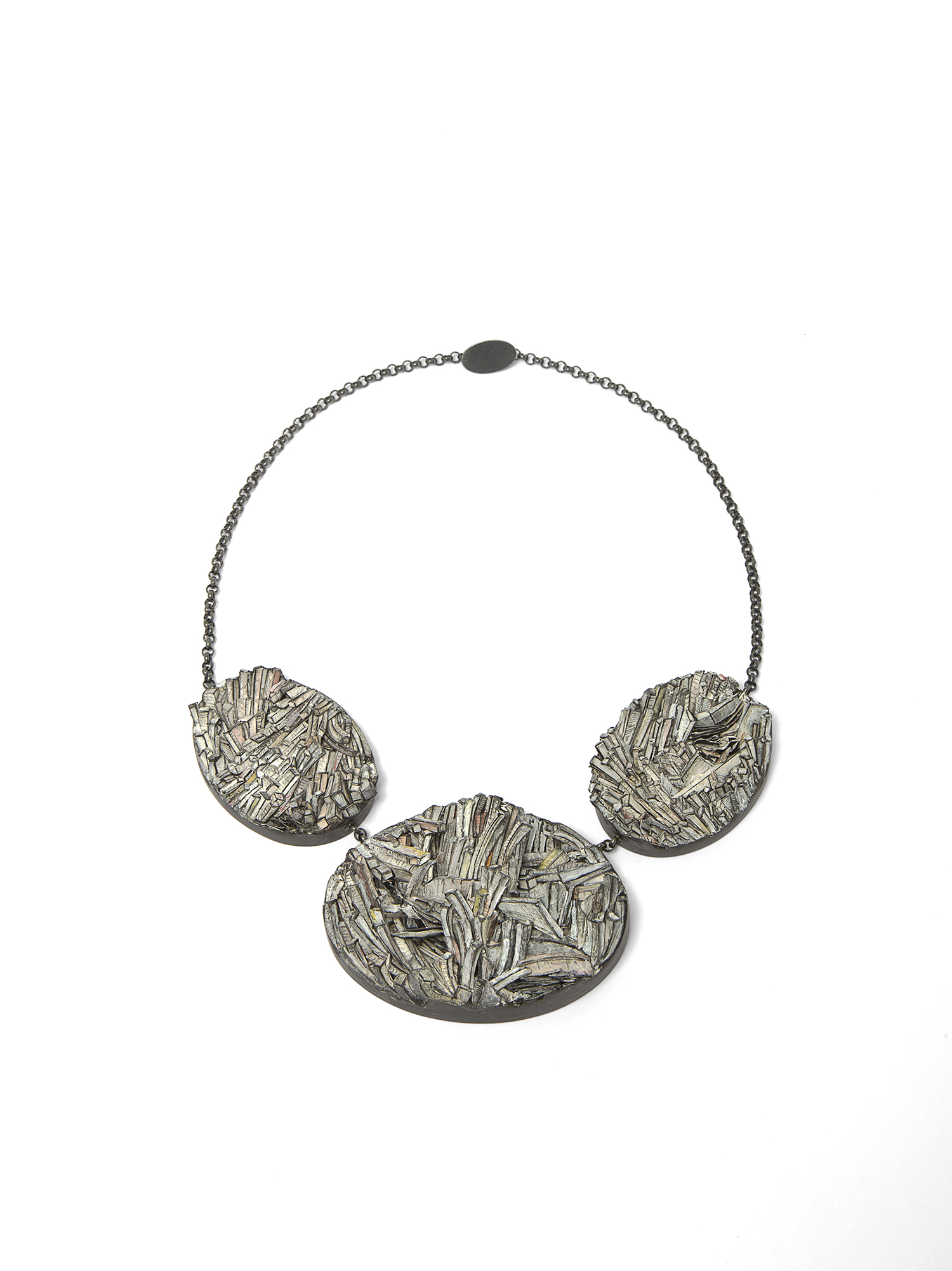 Untitled | Necklace | 2017 | Paper, paint, silver, wood, graphite | 300X350X35mm