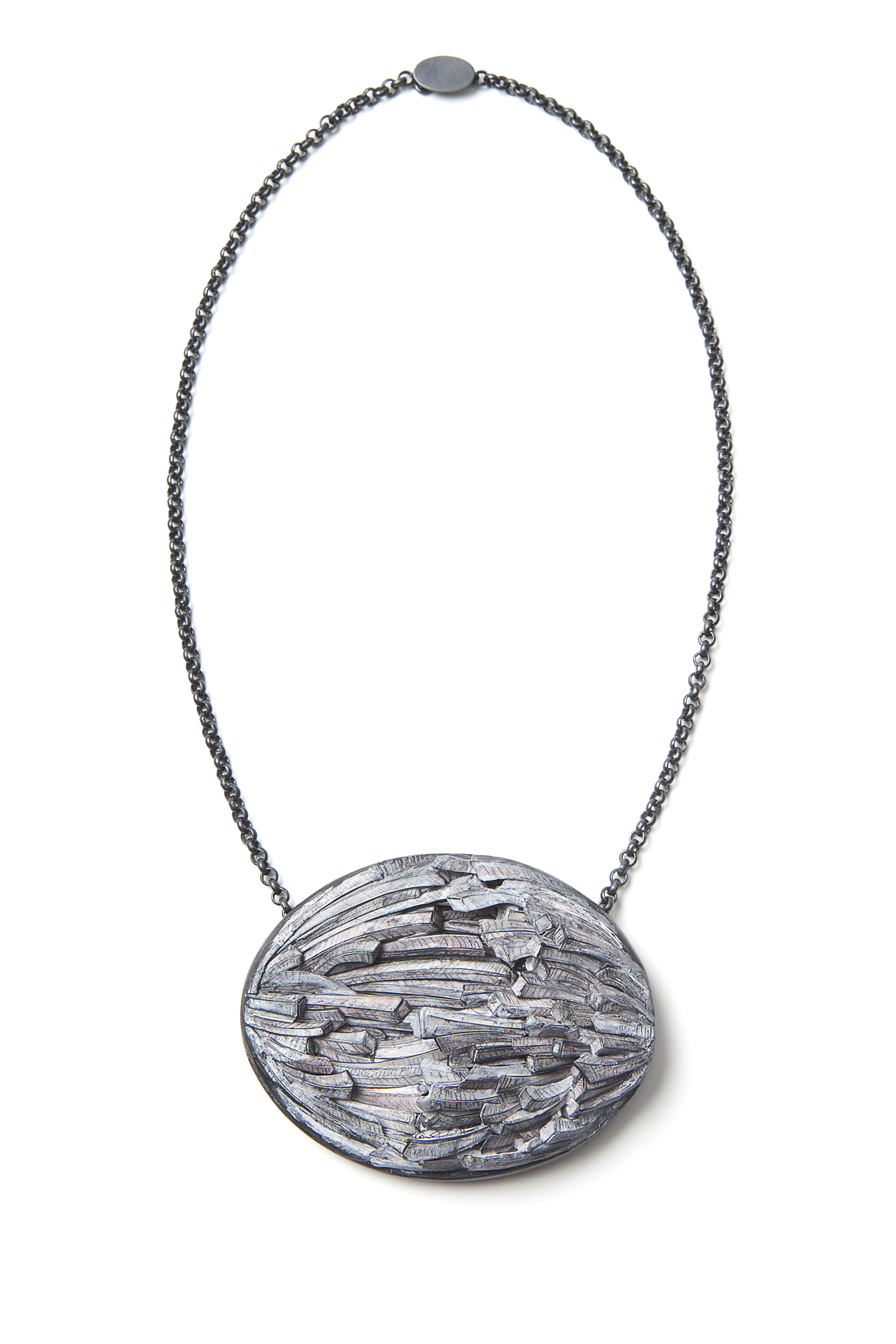 Untitled | Necklace | 2016 | Paper, paint, silver, wood, graphite | 200X140X45mm