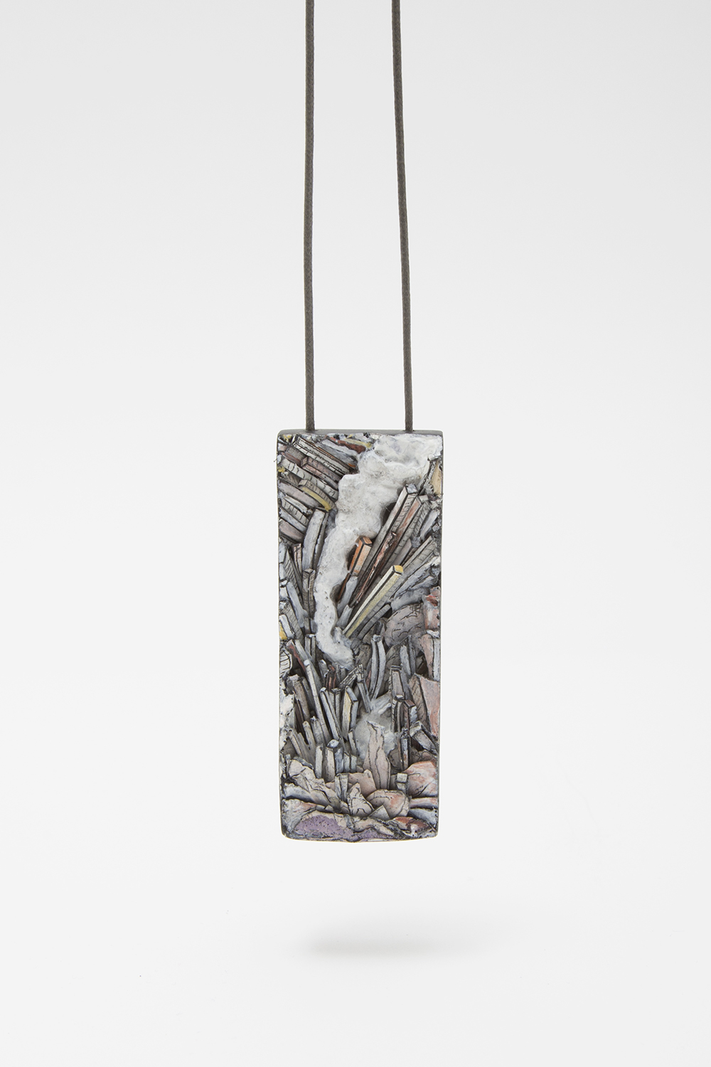 Untitled | Pendant | 2020 | Paper, paint, silver, wood, graphite, cotton string | 73X632X22mm