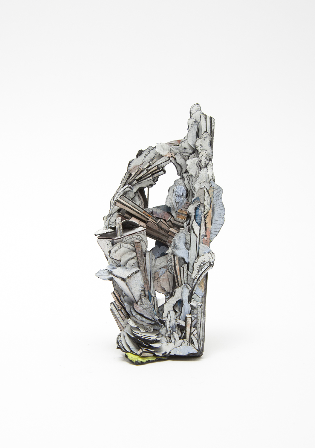 Untitled | Brooch | 2020 | Paper, paint, silver, wood, graphite, stainless steel | 105X50X23mm
