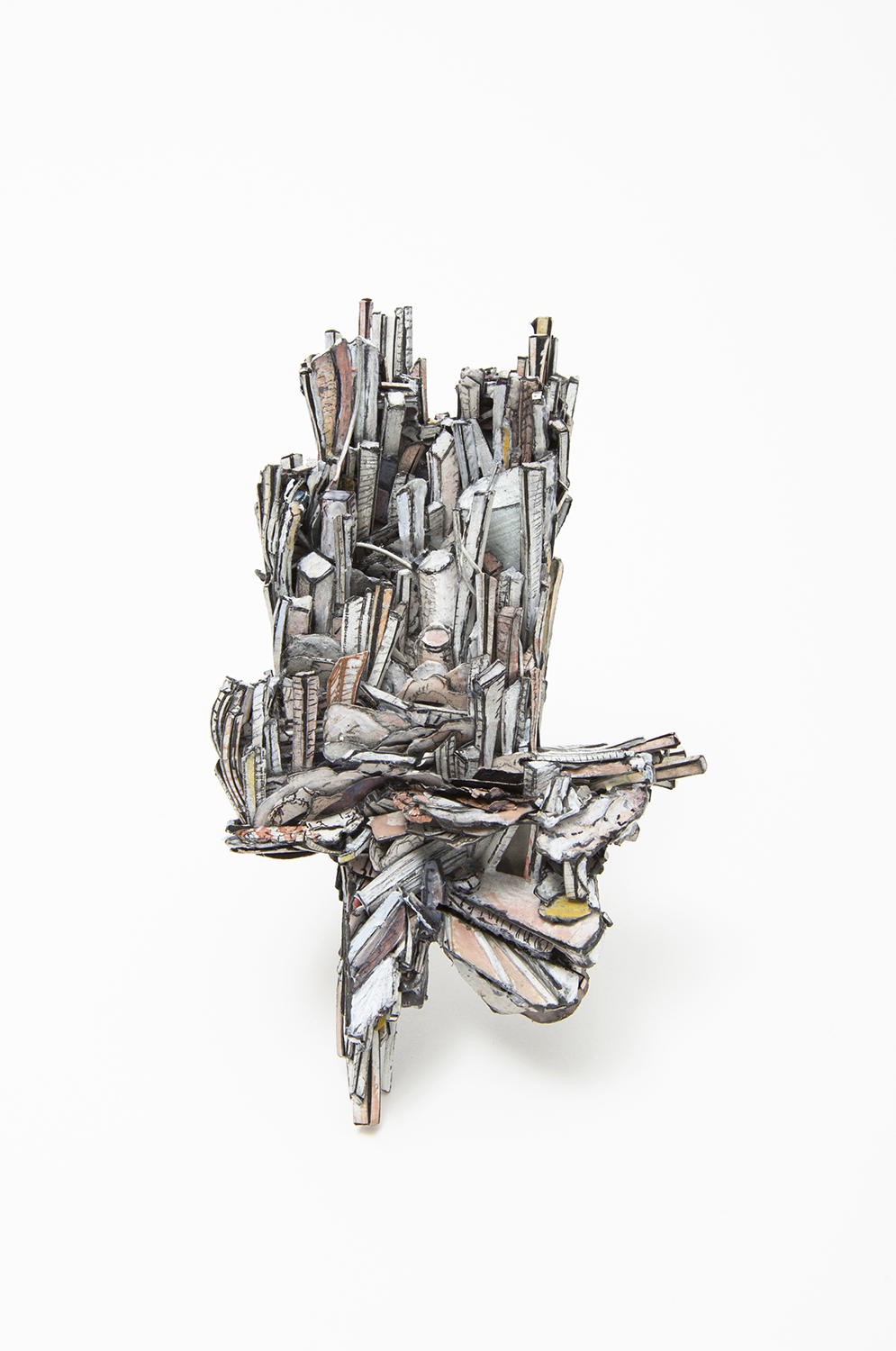 Untitled | Brooch | 2020 | Paper, paint, silver, wood, graphite, stainless steel | 115X69X30mm