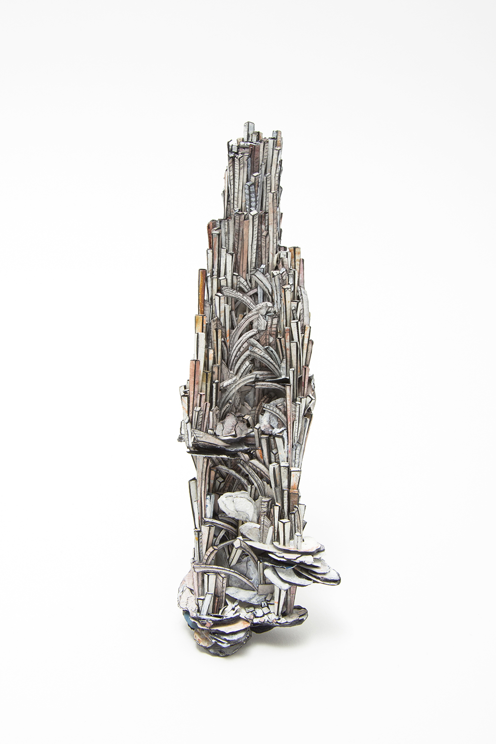 Untitled | Brooch | 2020 | Paper, paint, silver, wood, graphite, stainless steel |185X55X28mm